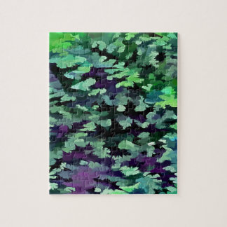 Foliage Abstract Pop Art In Jade Green and Purple. Jigsaw Puzzle