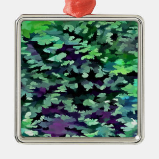 Foliage Abstract Pop Art In Jade Green and Purple. Metal Ornament