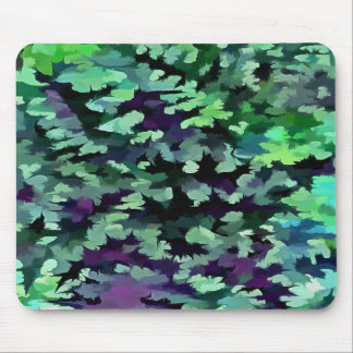 Foliage Abstract Pop Art In Jade Green and Purple. Mouse Pad