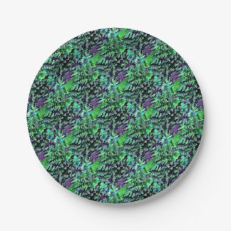 Foliage Abstract Pop Art In Jade Green and Purple. Paper Plate