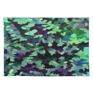 Foliage Abstract Pop Art In Jade Green and Purple. Placemat