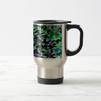 Foliage Abstract Pop Art In Jade Green and Purple. Travel Mug