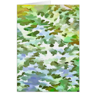 Foliage Abstract Pop Art In White Green and Powder Card