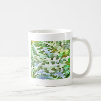 Foliage Abstract Pop Art In White Green and Powder Coffee Mug