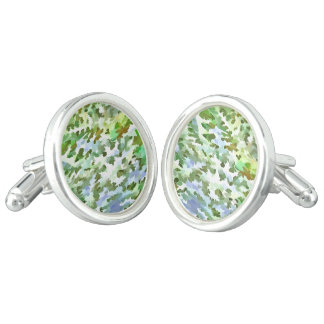 Foliage Abstract Pop Art In White Green and Powder Cuff Links