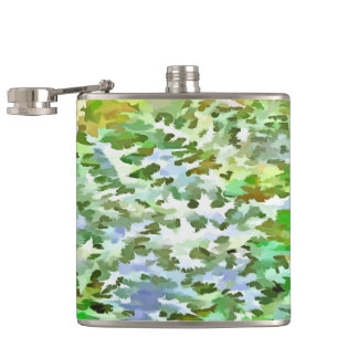 Foliage Abstract Pop Art In White Green and Powder Hip Flask