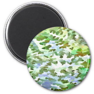 Foliage Abstract Pop Art In White Green and Powder Magnet
