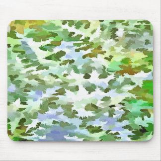 Foliage Abstract Pop Art In White Green and Powder Mouse Pad