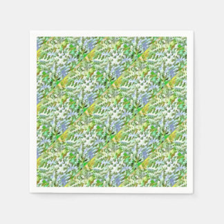 Foliage Abstract Pop Art In White Green and Powder Napkin