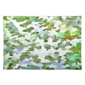 Foliage Abstract Pop Art In White Green and Powder Placemat