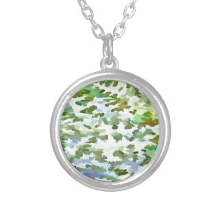Foliage Abstract Pop Art In White Green and Powder Silver Plated Necklace