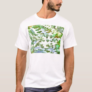 Foliage Abstract Pop Art In White Green and Powder T-Shirt