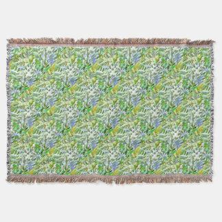 Foliage Abstract Pop Art In White Green and Powder Throw Blanket