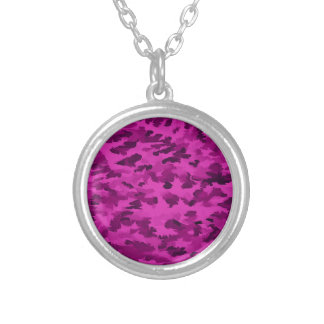 Foliage Abstract  Pop Art Violet Silver Plated Necklace
