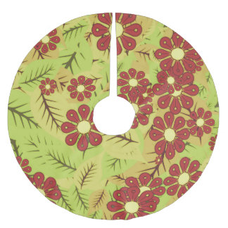 Foliage and flowers brushed polyester tree skirt