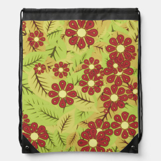Foliage and flowers drawstring bag
