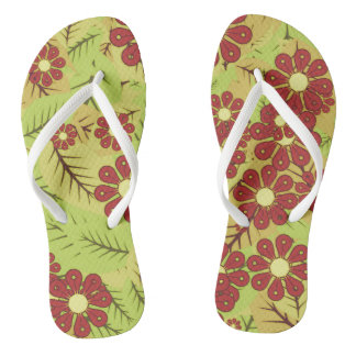 Foliage and flowers flip flops