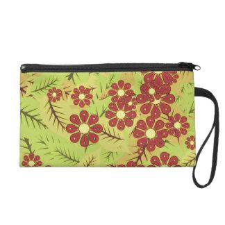 Foliage and flowers wristlet purses