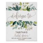 Foliage Bridal Shower Welcome Poster