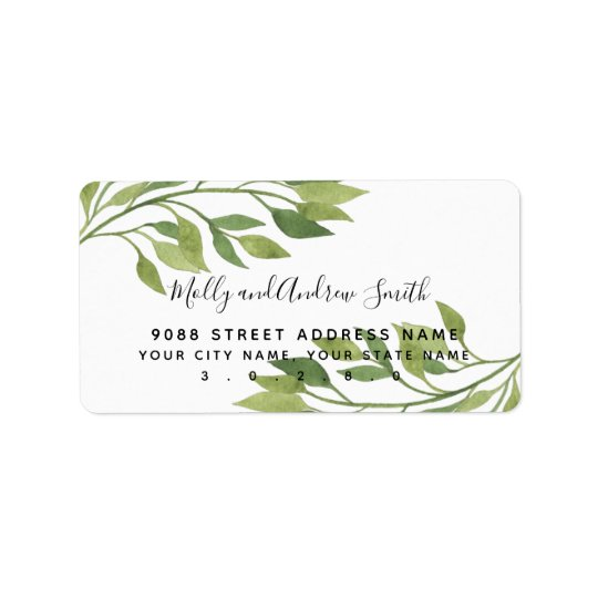 foliage greenery leaf address label party/wedding