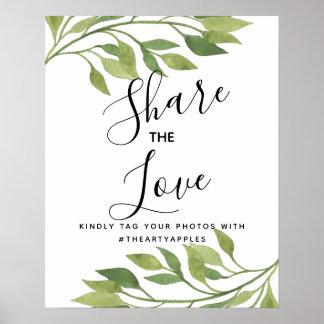 Foliage greenery leaf Social media wedding hashtag Poster