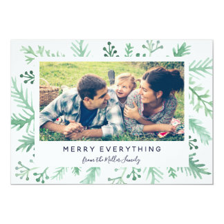 Foliage Greeting Holiday Photo Merry Everything Card