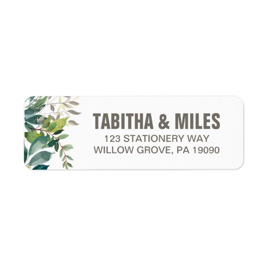 Foliage Wedding Return Address Label