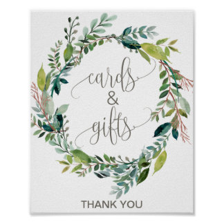 Foliage Wreath Cards and Gifts Sign