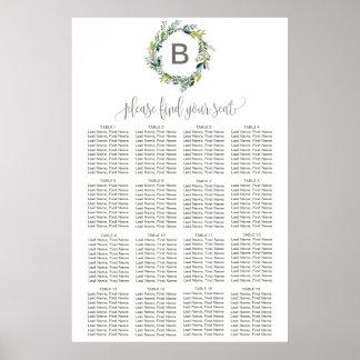 Foliage Wreath Monogram Seating Chart