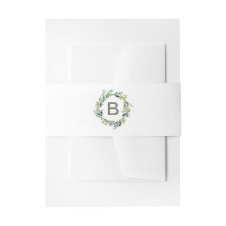 Foliage Wreath Monogram Wedding Invitation Belly Band