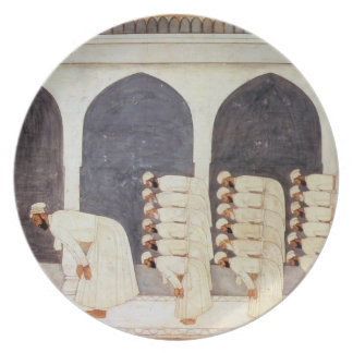 Folio.38a A Mogul prince in a mosque leading Frida Dinner Plate