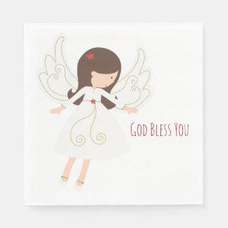 Folk Angel Christian GOD BLESS YOU Paper Napkins
