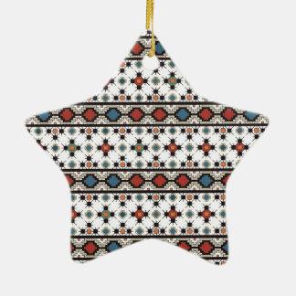 Folk Art 3 Ceramic Star Ornament