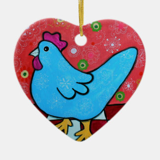 FOLK ART AMERICANA ROOSTER CERAMIC HEART ORNAMENT
