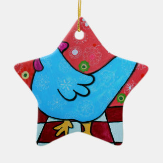 FOLK ART AMERICANA ROOSTER CERAMIC ORNAMENT