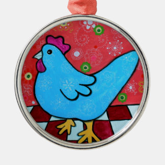 FOLK ART AMERICANA ROOSTER Silver-Colored ROUND ORNAMENT