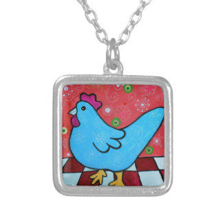 FOLK ART AMERICANA ROOSTER SILVER PLATED NECKLACE