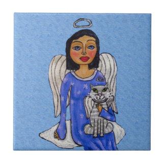Folk Art Angel Blue eyes White Angel Cat on Cloud Ceramic Tiles