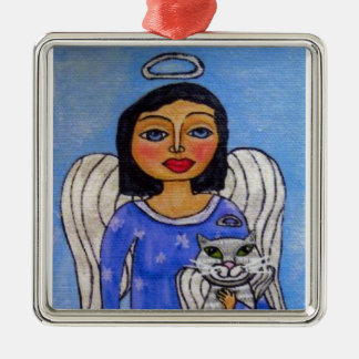 Folk Art Angel Cat Angel Silver-Colored Square Ornament