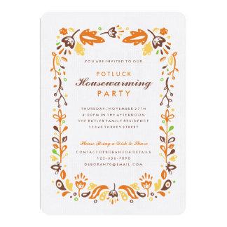 "Folk Art Autumn Foliage Housewarming Party 5"" X 7"" Invitation Card"