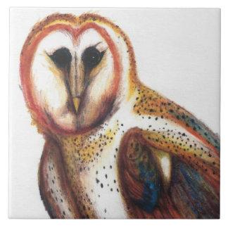 Folk Art Barn Owl Tile, By David I Stromberg Tile