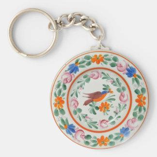 Folk Art Bird and flowers Keychain