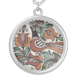Folk Art Bird Silver Plated Necklace