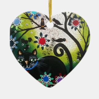Folk Art_By Everett_ Day Of The Dead, Black CAT Ceramic Heart Ornament