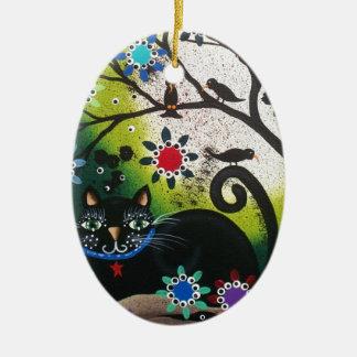 Folk Art_By Everett_ Day Of The Dead, Black CAT Ceramic Oval Ornament