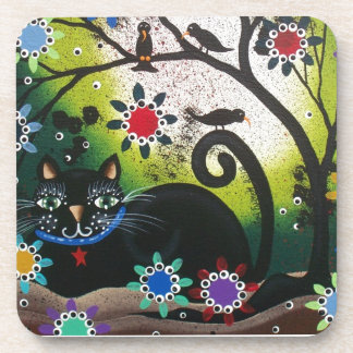 Folk Art_By Everett_ Day Of The Dead, Black CAT Drink Coaster