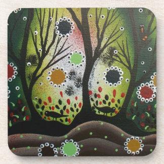 Folk Art_By Lori Everett, Day Of The Dead,Tree Art Beverage Coaster