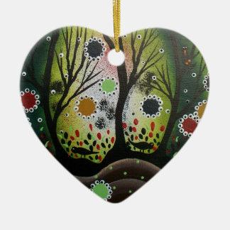 Folk Art_By Lori Everett, Day Of The Dead,Tree Art Ceramic Heart Ornament