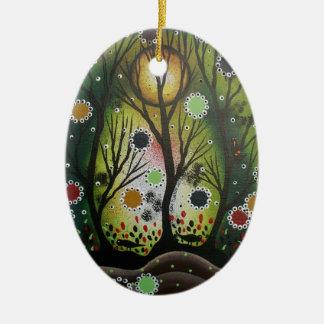Folk Art_By Lori Everett, Day Of The Dead,Tree Art Ceramic Oval Ornament