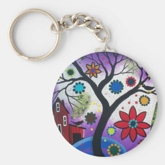 FOLK ART BY LORI EVERETT Rainbow Twilight Basic Round Button Keychain
